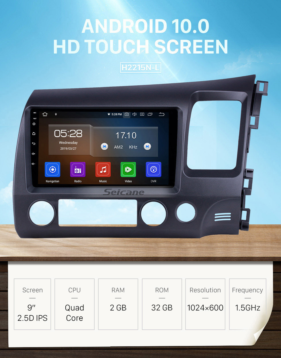 Seicane 9 inch Android 10.0 Radio for 2006-2011 Honda Civic RHD with GPS Navigation HD Touchscreen Bluetooth USB Carplay support OBD2 Rearview camera 4G WIFI