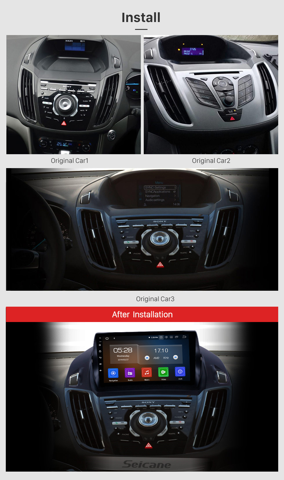 Seicane OEM 9 inch Android 10.0 Radio for 2013-2016 Ford Escape Bluetooth Wifi HD Touchscreen Music GPS Navigation Carplay support DAB+ Rearview camera