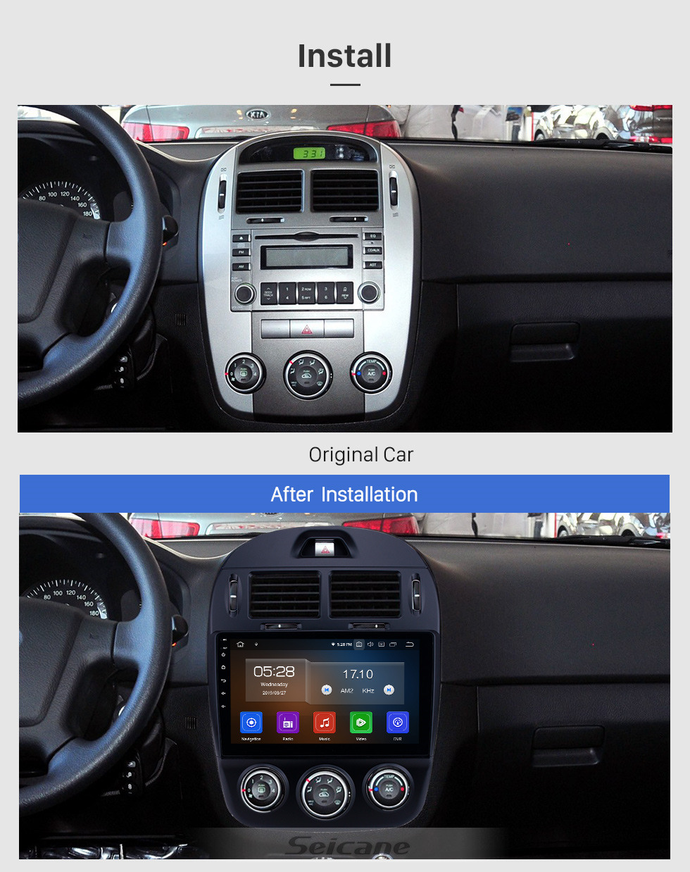 Seicane 10.1 inch Android 10.0 GPS Navigation Radio for 2017-2019 Kia Cerato Manual A/C Bluetooth Wifi HD Touchscreen Music Carplay support Backup camera 1080P