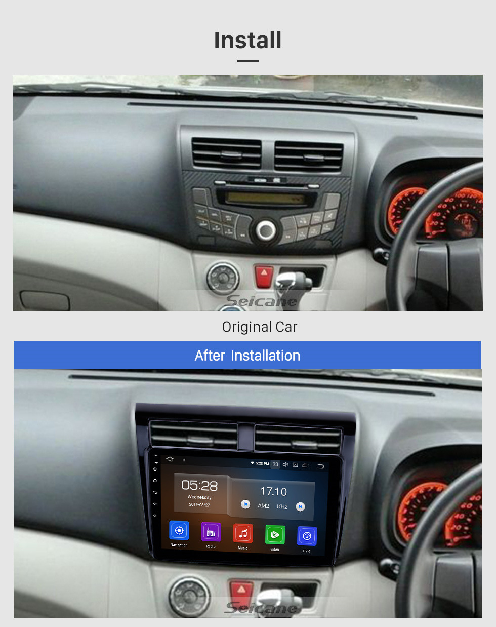 Seicane 10.1 inch Android 10.0 GPS Navigation Radio for 2012 Proton Myvi Bluetooth Wifi HD Touchscreen Carplay support DAB+ Steering Wheel Control DVR