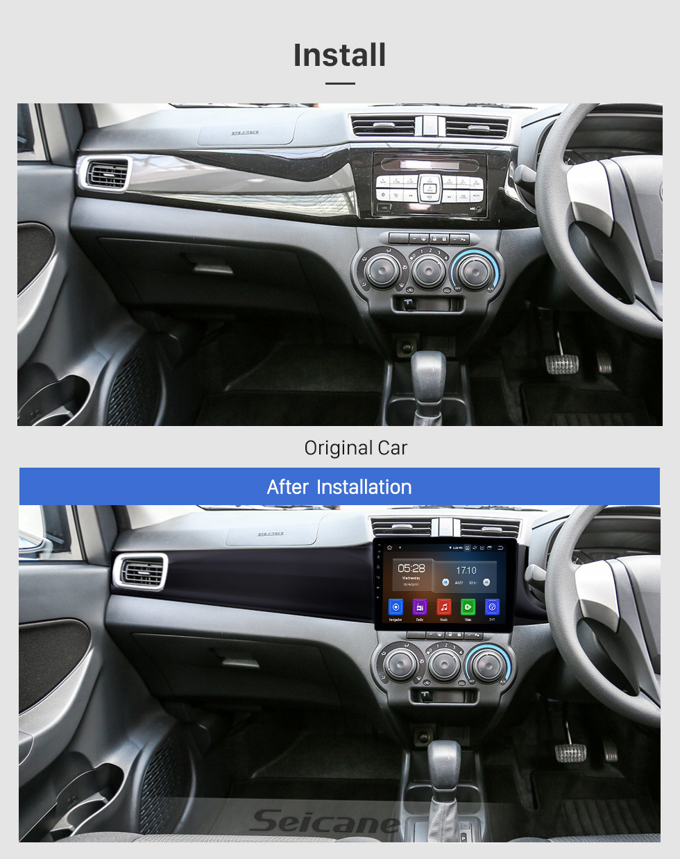 Seicane 10.1 inch 2016-2019 Perodua Bezza Android 10.0 GPS Navigation Radio Bluetooth Touchscreen AUX Carplay support OBD2 DAB+ 1080P Video
