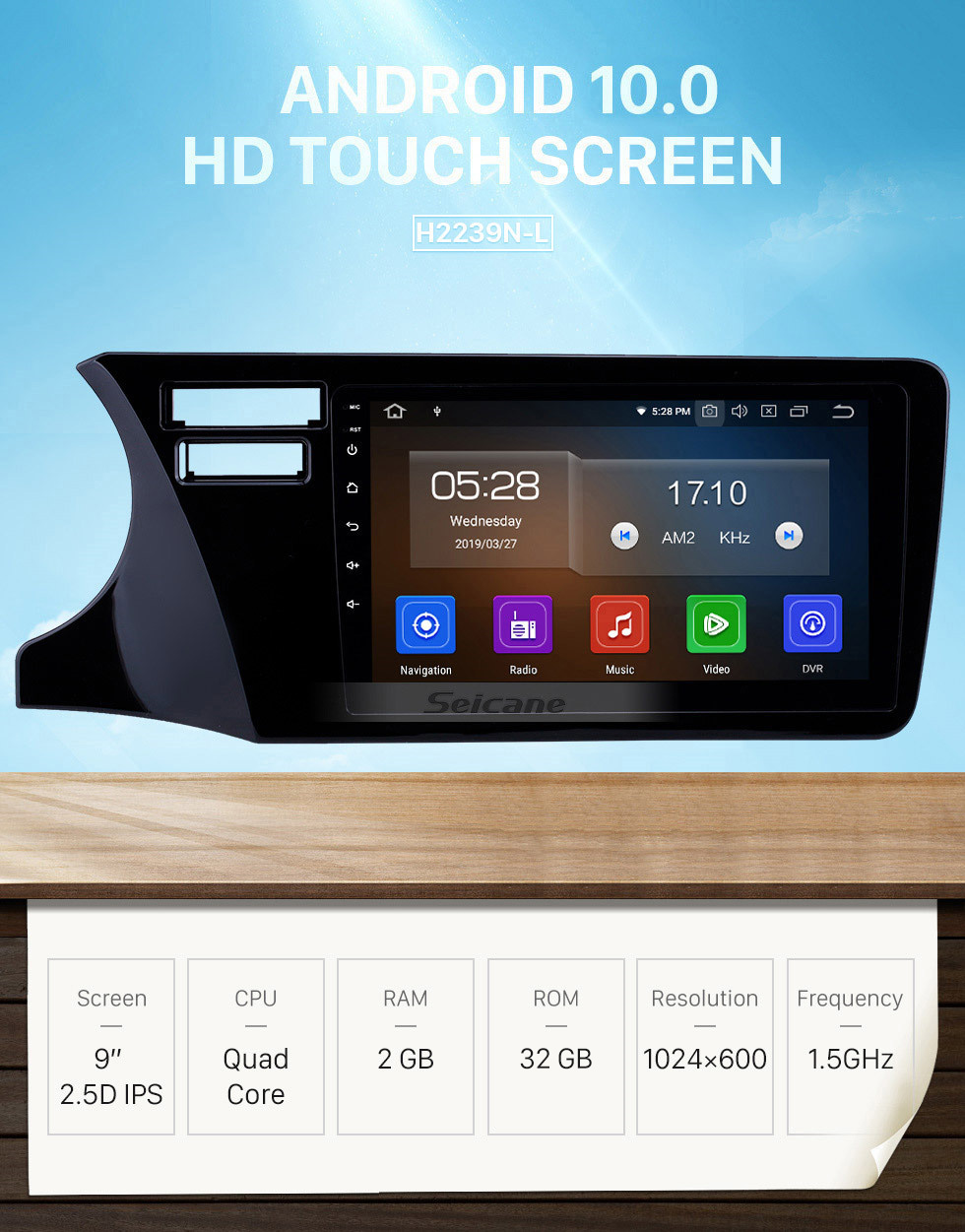 Seicane Android 10.0 9 inch GPS Navigation Radio for 2014-2017 Honda City LHD with HD Touchscreen Carplay Bluetooth WIFI USB AUX support Mirror Link OBD2 SWC