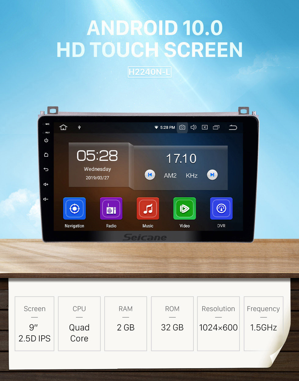 Seicane Android 10.0 9 inch GPS Navigation Radio for 2006-2010 Proton GenⅡ with HD Touchscreen Carplay Bluetooth WIFI USB AUX support Mirror Link OBD2 SWC