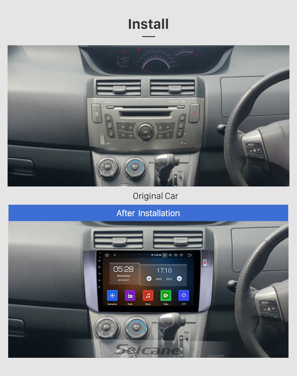 Seicane 10.1 inch Android 10.0 Radio for 2010-2017 Toyota ALZA Bluetooth Wifi HD Touchscreen AUX GPS Navigation Carplay USB support DVR Digital TV TPMS