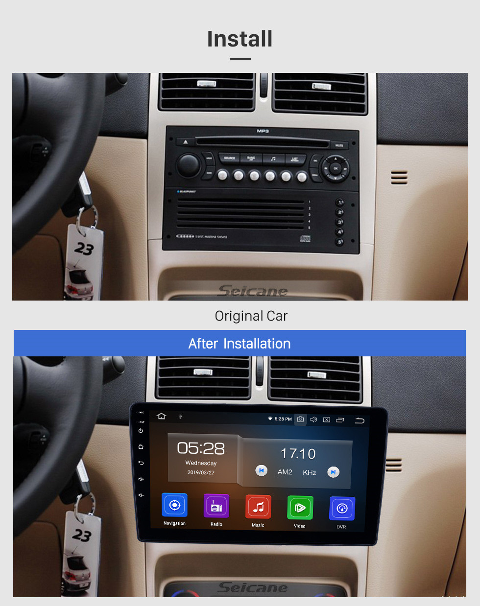 Seicane 2001-2008 Peugeot 307 Android 10.0 9 inch GPS Navigation Radio Bluetooth HD Touchscreen USB Carplay Music support TPMS DAB+ 1080P Video Mirror Link