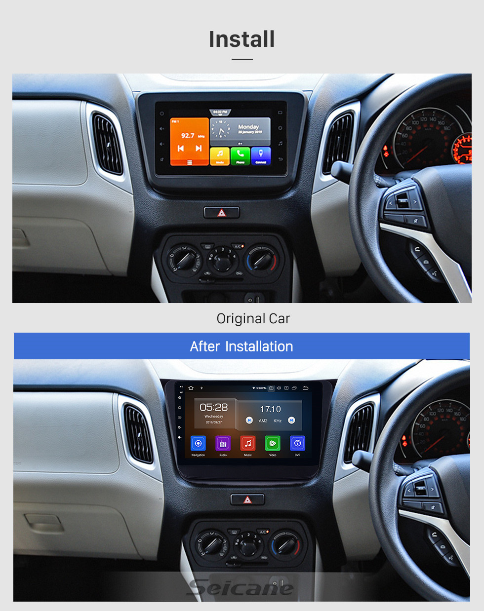 Seicane HD Touchscreen 2019 Suzuki Wagon-R Android 10.0 9 inch GPS Navigation Radio Bluetooth USB Carplay WIFI AUX support DAB+ Steering Wheel Control