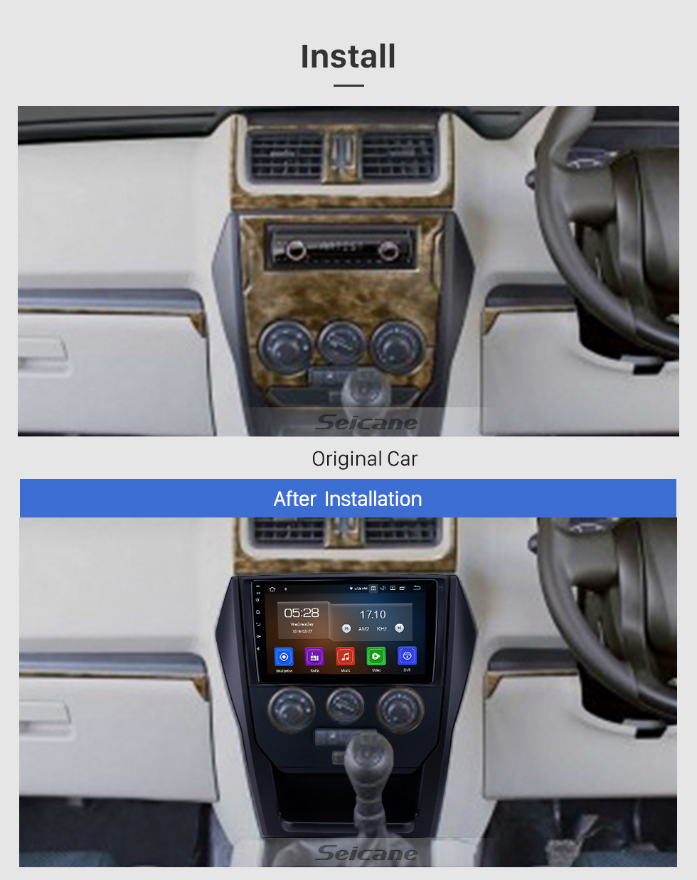 Seicane OEM 9 inch Android 10.0 Radio for 2015 Mahindra Scorpio Manual A/C Bluetooth Wifi HD Touchscreen GPS Navigation Carplay support DAB+ Rear camera
