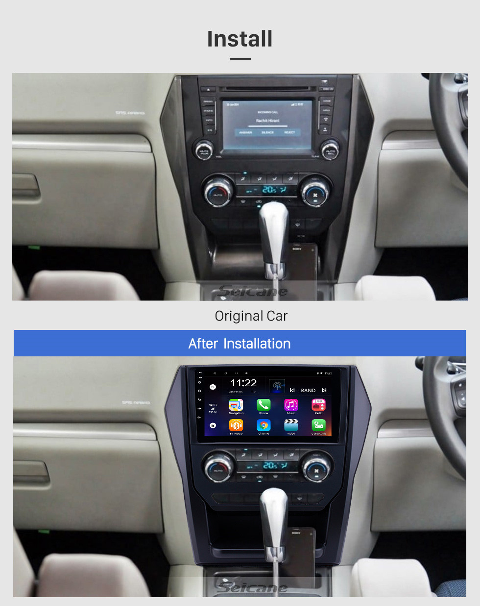 Seicane 2015 Mahindra Scorpio Auto A/C Android 10.0 9 inch GPS Navigation Radio Bluetooth HD Touchscreen USB Carplay Music support TPMS DAB+ Mirror Link