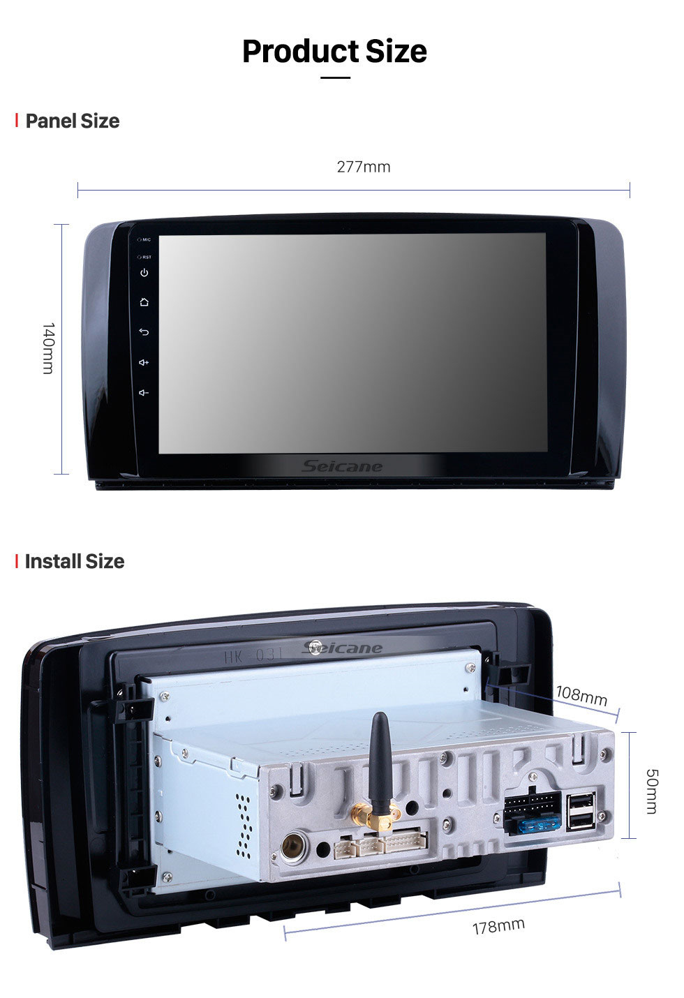 Seicane 9 inch 2006-2013 Mercedes Benz R Class W251 R280 R300 R320 R350 R63 Android 10.0 HD Touchscreen Radio GPS Navigation system with Bluetooth WIFI USB 1080P Video OBD2 DVR Mirror Link Steering wheel control