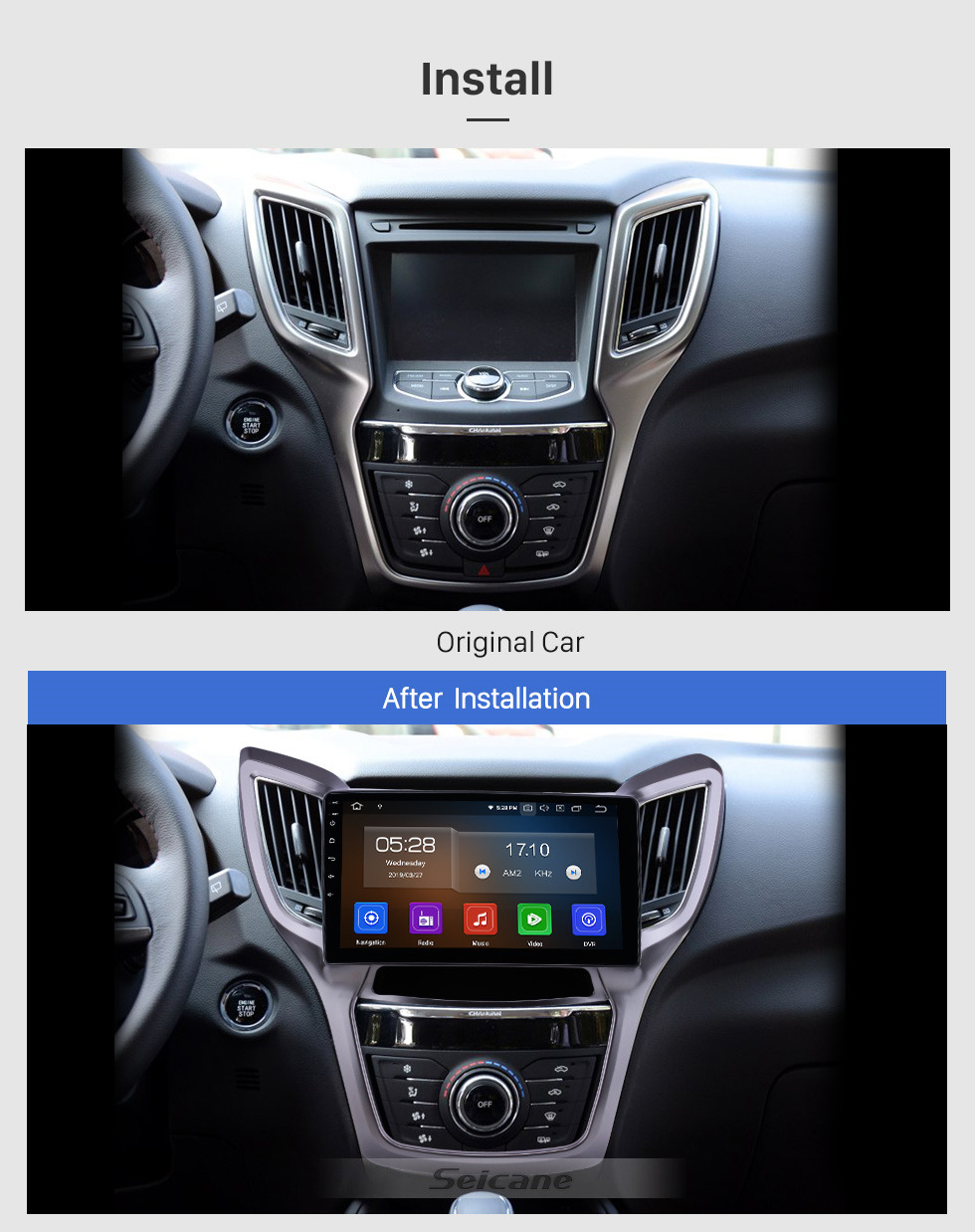 Seicane 10.1 pulgadas 2013-2016 Changan CS75 Android 10.0 Navegación GPS Radio Bluetooth HD Pantalla táctil AUX USB WIFI Carplay soporte OBD2 1080P Video
