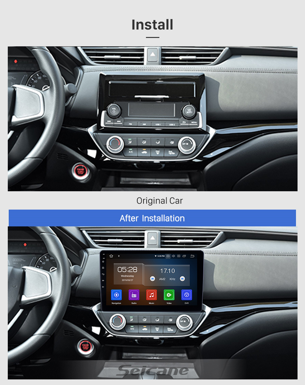 Seicane 10.1 inch Android 10.0 Radio for 2018-2019 Honda Crider Bluetooth HD Touchscreen GPS Navigation Carplay USB support TPMS Backup camera DAB+