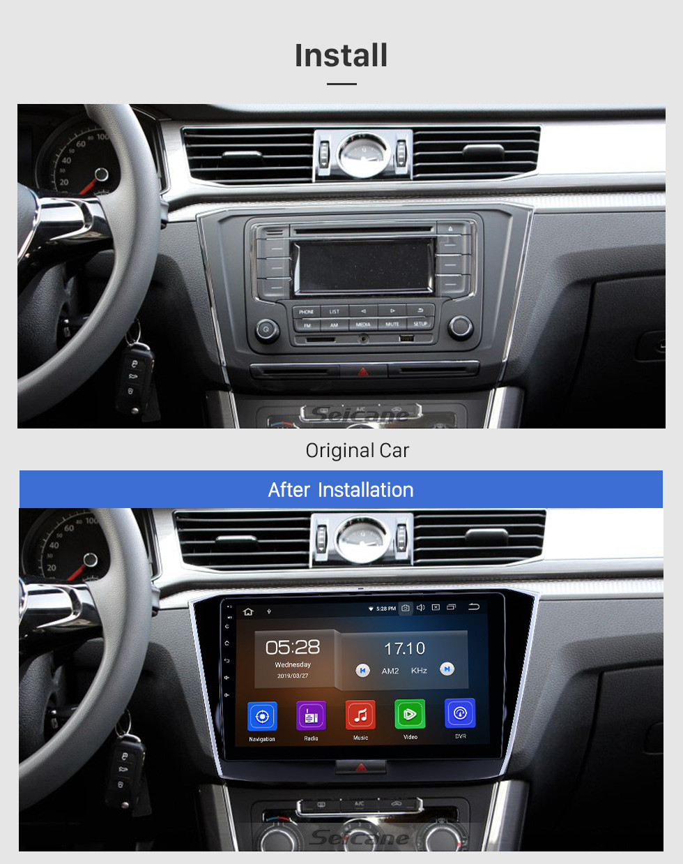 Seicane 10.1 inch 2016-2018 VW Volkswagen Passat Android 10.0 GPS Navigation Radio Bluetooth HD Touchscreen AUX USB Carplay support Mirror Link