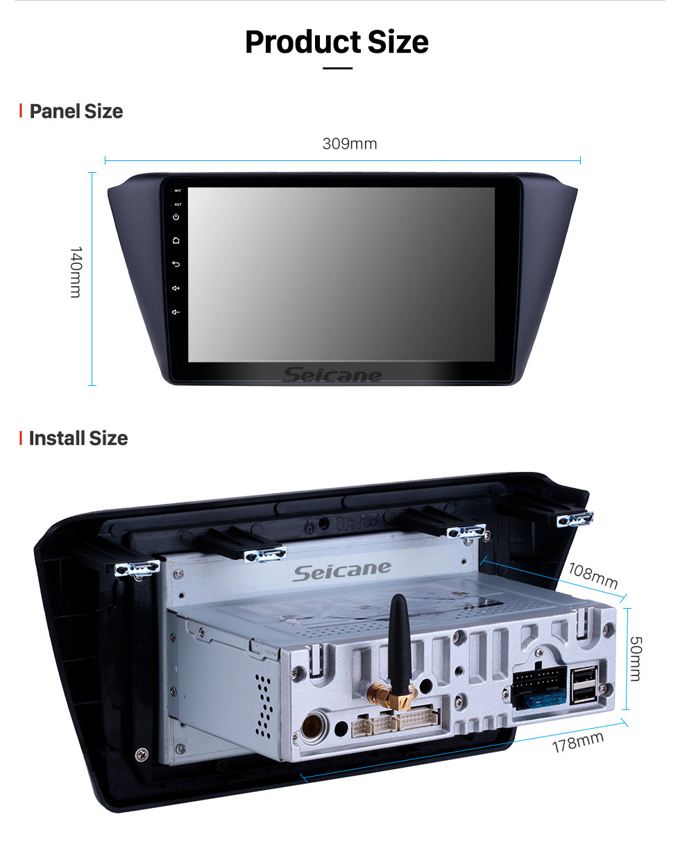 Seicane 9-дюймовый Android 10.0 Radio для 2015-2018 Skoda New Fabia Bluetooth HD с сенсорным экраном GPS-навигатор Carplay Поддержка USB TPMS DAB + DVR