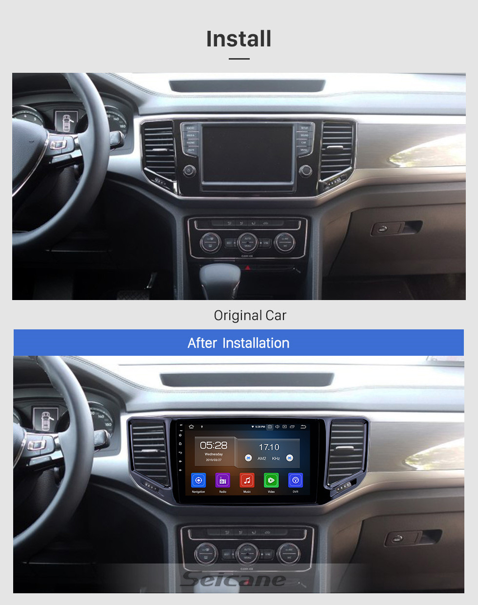 Seicane 10.1 inch Android 10.0 Radio for 2017-2018 VW Volkswagen Teramont Bluetooth HD Touchscreen GPS Navigation Carplay USB support TPMS DAB+ DVR