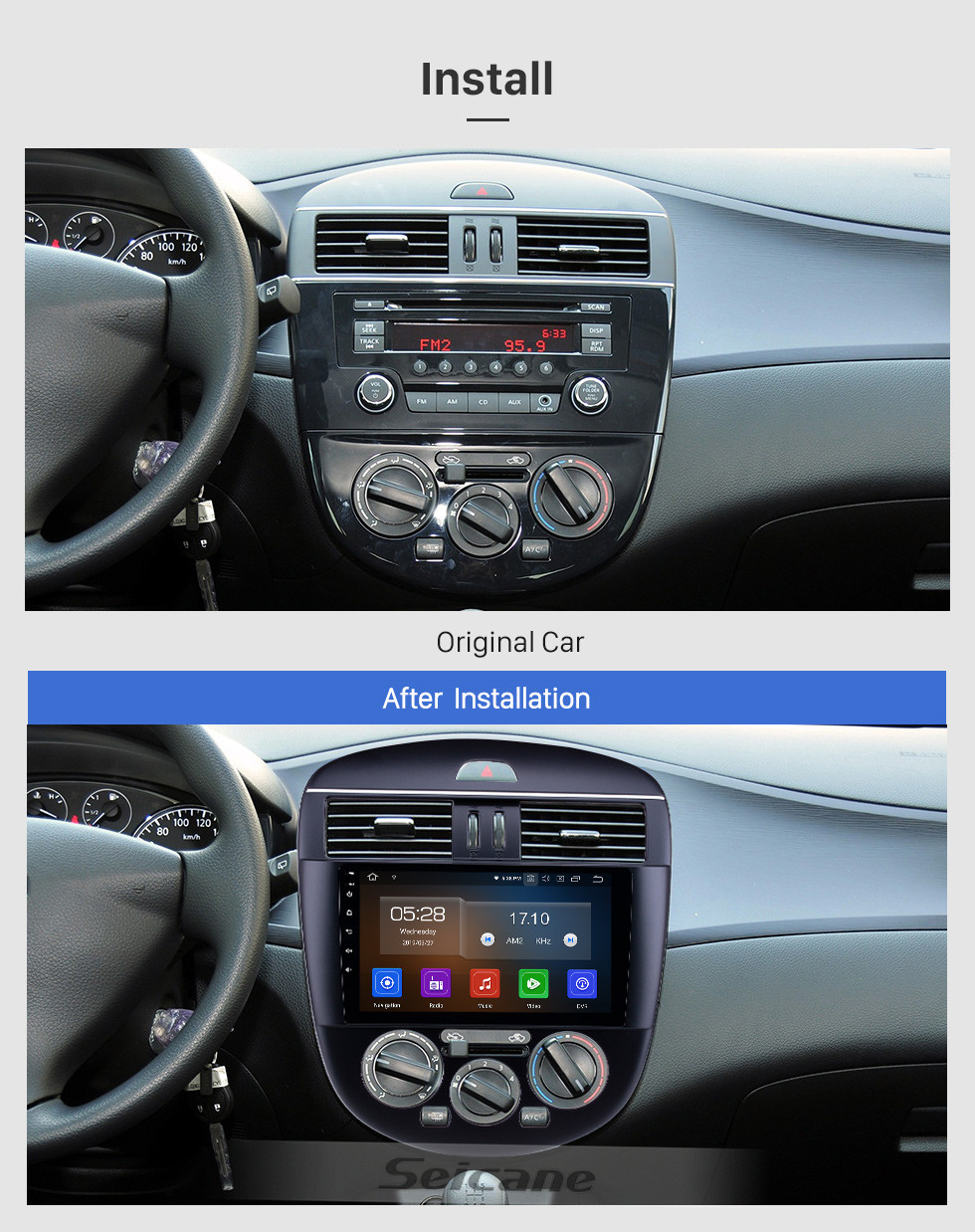 Seicane 2011-2014 Nissan Tiida Manual A/C Low Version Android 10.0 9 inch GPS Navigation Radio Bluetooth HD Touchscreen USB Carplay support TPMS DAB+ 1080P