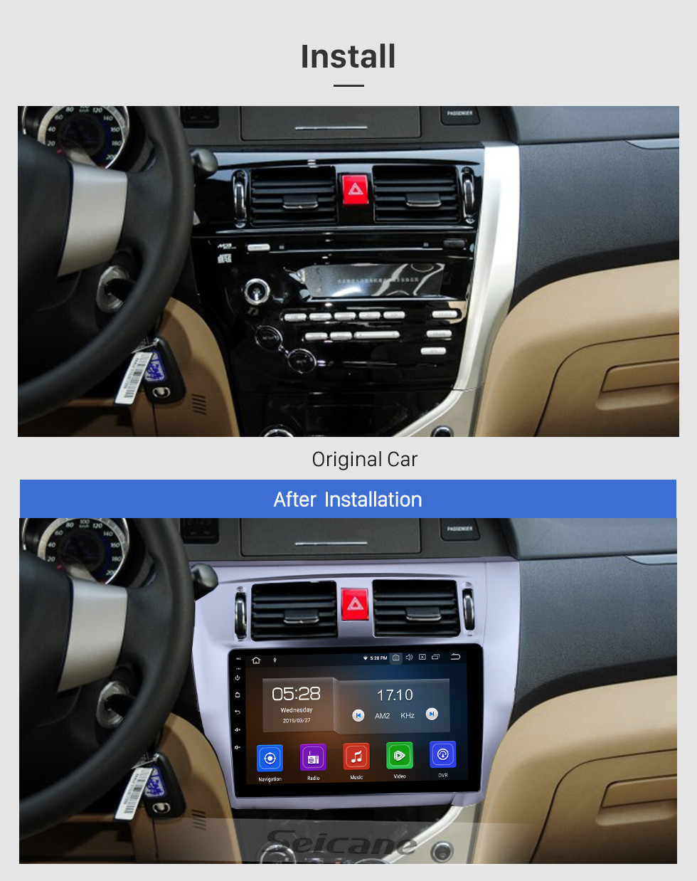 Seicane Écran tactile HD 2013 2014 2015 Grande Muraille C30 Android 10.0 Radio de navigation GPS 9 pouces avec Bluetooth Support de Carplay Commande au volant