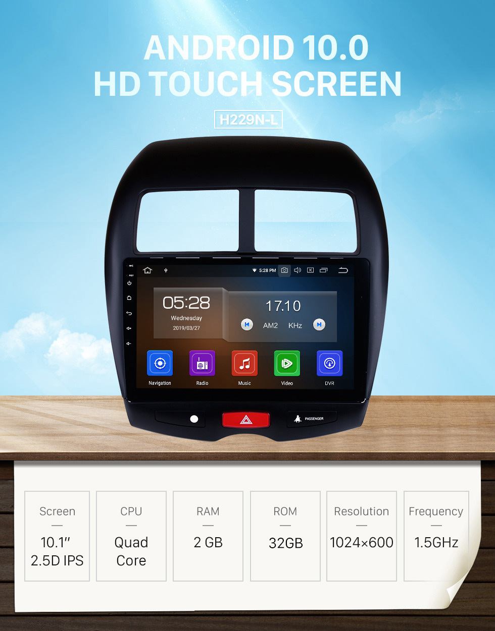 Seicane 10.1 Inch HD Touchscreen Radio Android 10.0 Head Unit For 2010-2012 2013-2015 Mitsubishi ASX Car Stereo GPS Navigation System Bluetooth Phone WIFI Support Mirror Link OBDII DVR Steering Wheel Control USB