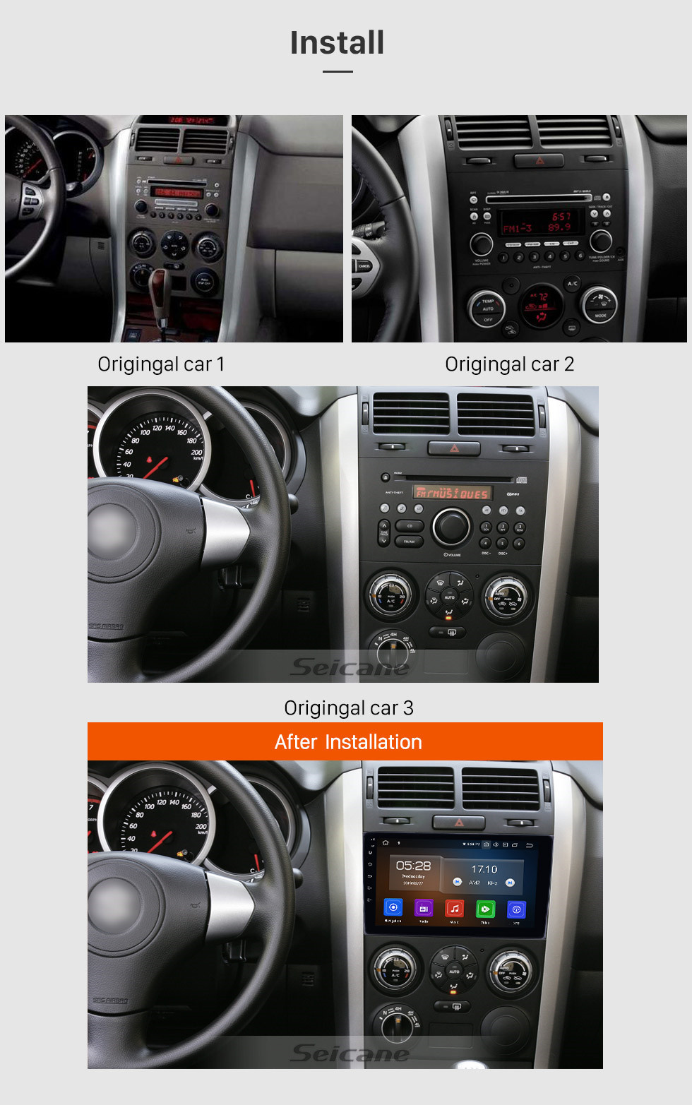 Seicane 2005-2014 Old Suzuki Vitara Android 10.0 9 inch GPS Navigation Radio Bluetooth HD Touchscreen WIFI Carplay support TPMS Digital TV