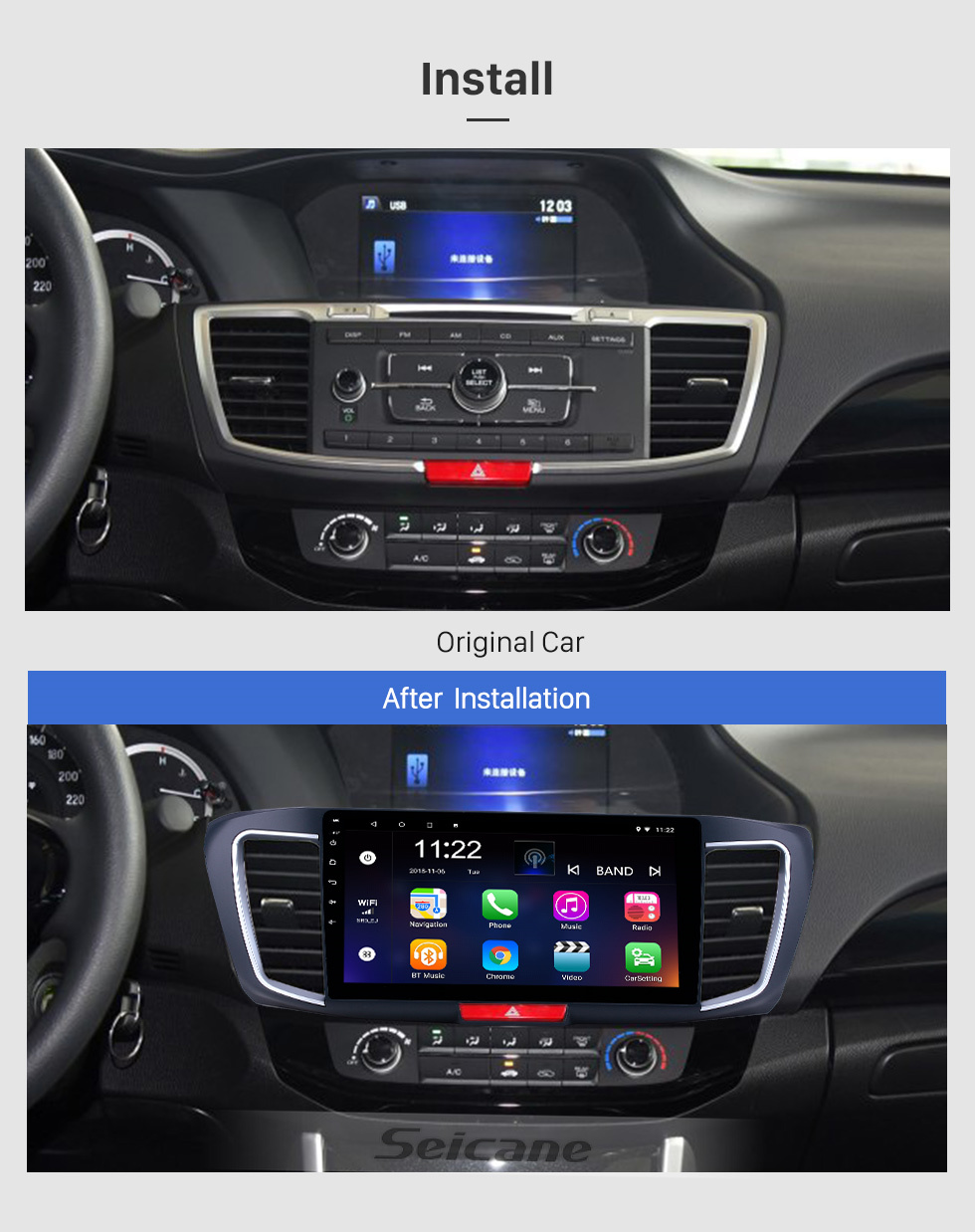 Seicane 10.1 inch Android 10.0 GPS Navigation Radio for 2013 Honda Accord 9 Low Version Bluetooth HD Touchscreen WIFI Carplay support Backup camera