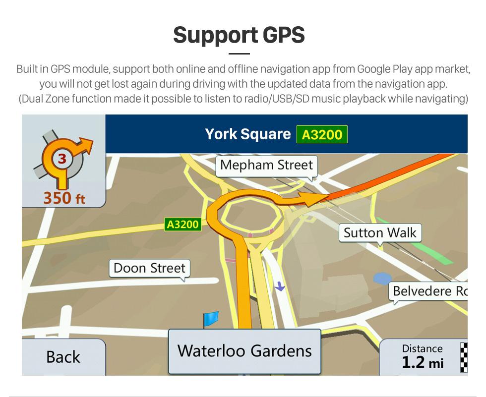 Seicane 10.1 pulgadas Android 10.0 Radio de navegación GPS para 2013 Honda Accord 9 Versión baja Bluetooth HD Pantalla táctil WIFI Carplay soporte Cámara de respaldo