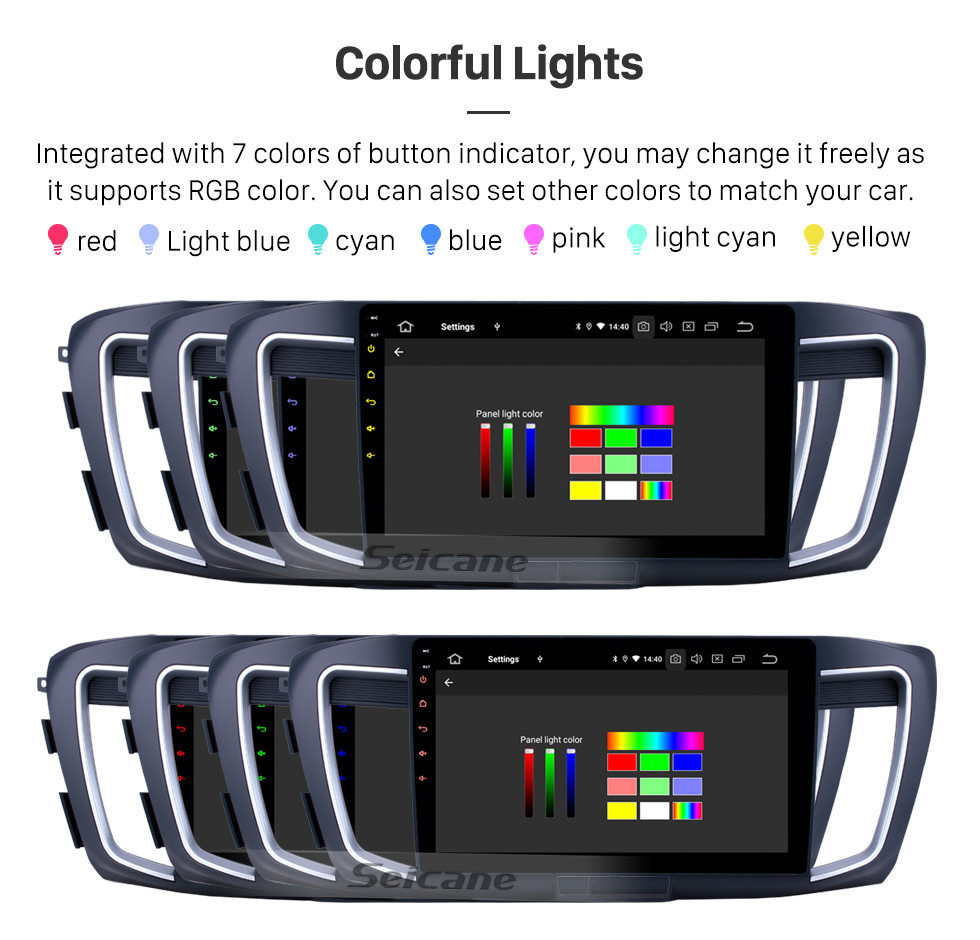 Seicane 10.1 polegada Android 10.0 Rádio para 2013 Honda Accord 9 Alta versão Bluetooth Touchscreen Navegação GPS Carplay apoio USB OBD2 SWC