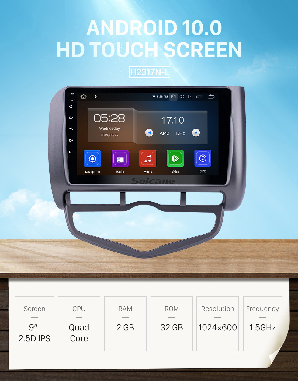 Seicane HD Touchscreen 2006 Honda Jazz City Auto AC LHD Android 10.0 9 inch GPS Navigation Radio Bluetooth Carplay support DAB+ TPMS