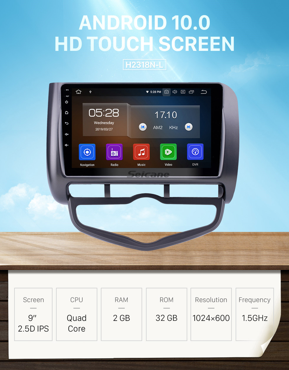 Seicane HD Touchscreen 2006 Honda Jazz City Auto AC RHD Android 10.0 9 inch GPS Navigation Radio Bluetooth Carplay support DAB+ OBD2