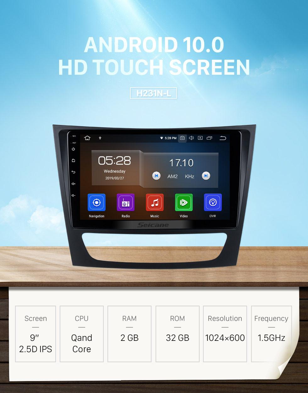 Seicane HD Touchscreen 8 inch Android 10.0 Radio GPS Navigation Head unit  for 2002-2008 Mercedes Benz E W211 E200 E220 E230 E240 E270 E280 E300 E320 with USB WiFi Bluetooth support DVD Player OBD2 Steering Wheel Control