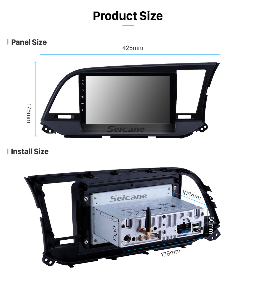 Seicane 9 inch Android 10.0 GPS Navigation Radio for 2015-2016 Hyundai Elantra RHD with HD Touchscreen Carplay AUX Bluetooth support 1080P