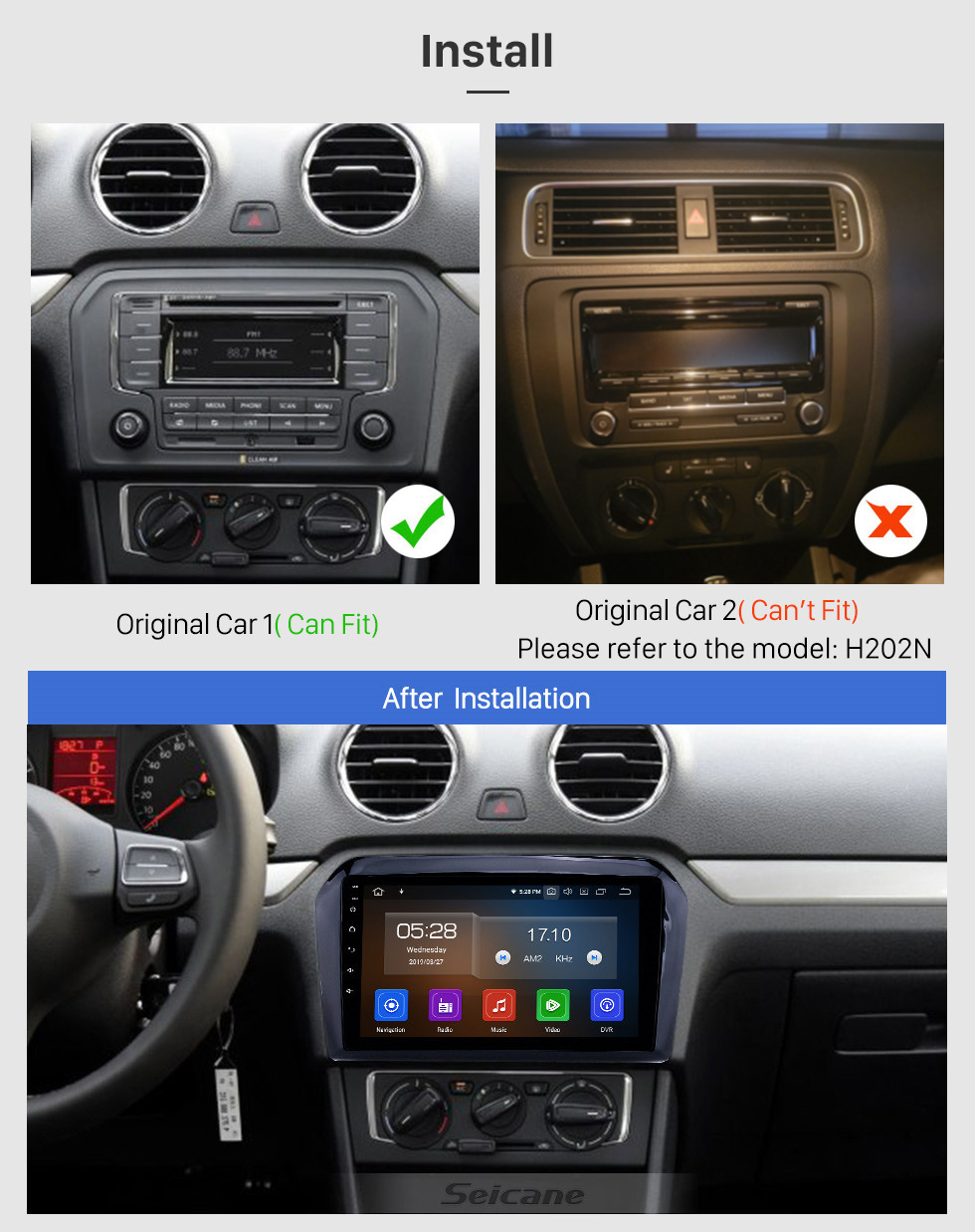 Seicane 9 inch Android 10.0 GPS Navigation Radio for 2013-2017 VW Volkswagen Jetta with HD Touchscreen Carplay AUX Bluetooth support 1080P