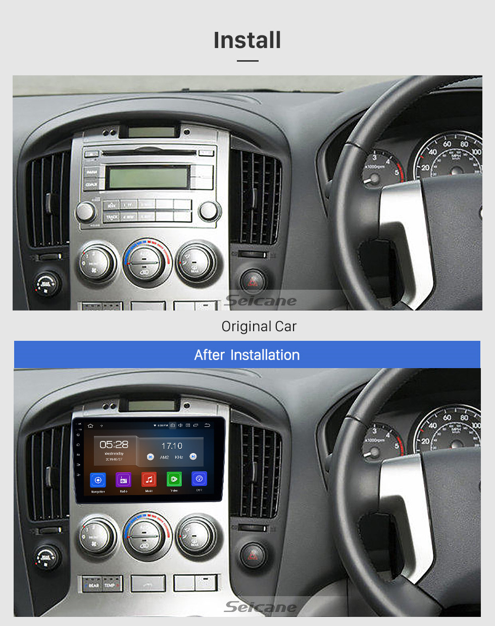 Seicane Android 10.0 9 inch GPS Navigation Radio for 2010-2014 Hyundai H1 with HD Touchscreen Carplay USB Bluetooth support DVR Digital TV