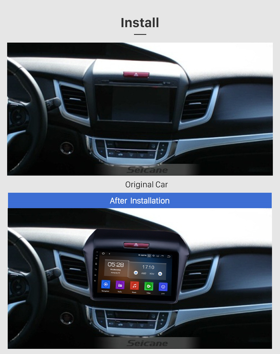Seicane 9 inch Android 10.0 GPS Navigation Radio for 2013 Honda Jade with HD Touchscreen Carplay AUX WIFI Bluetooth support DVR OBD2 TPMS