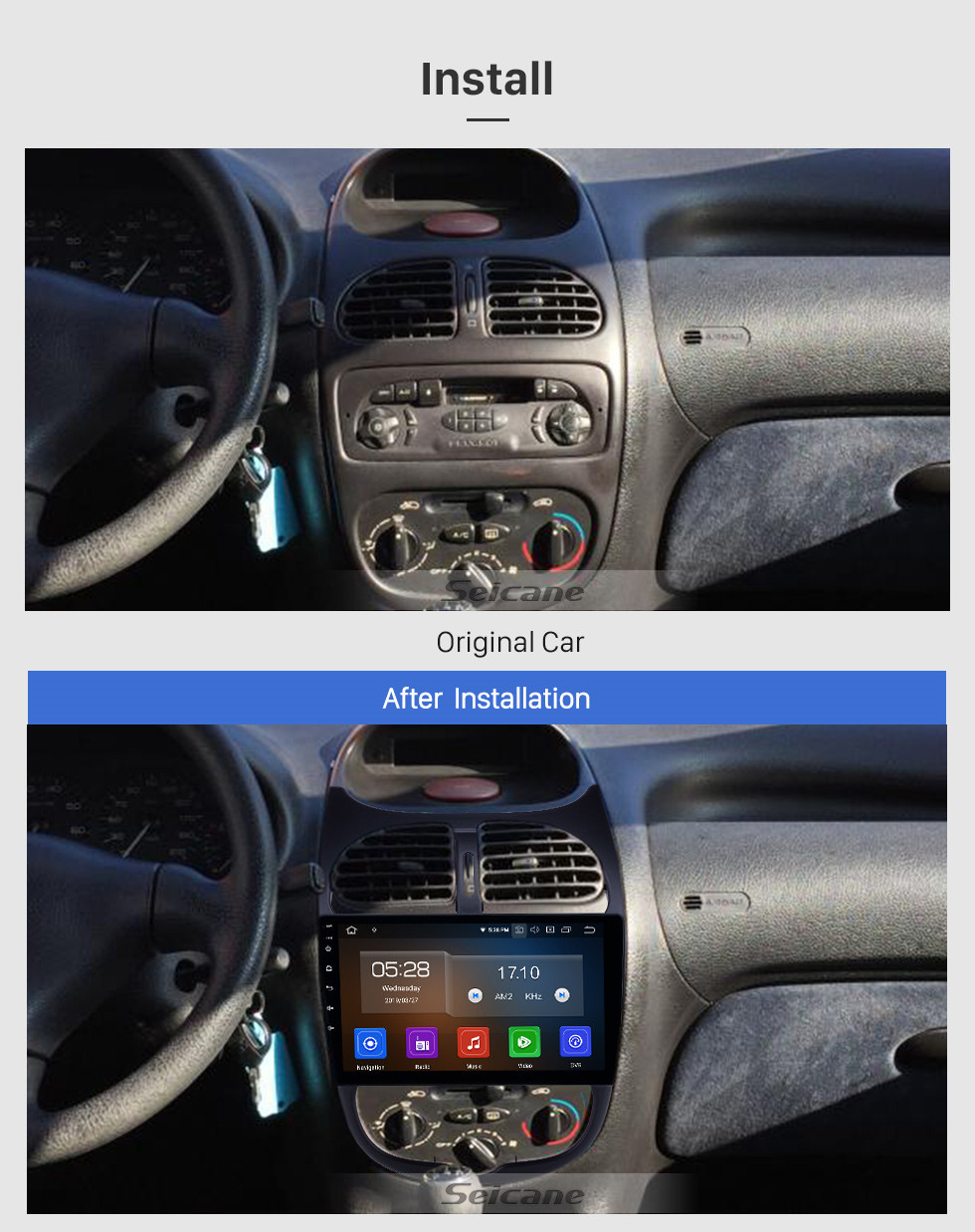 Seicane 9 inch Android 10.0 GPS Navigation Radio for 2000-2016 Peugeot 206 with HD Touchscreen Carplay AUX Bluetooth support 1080P