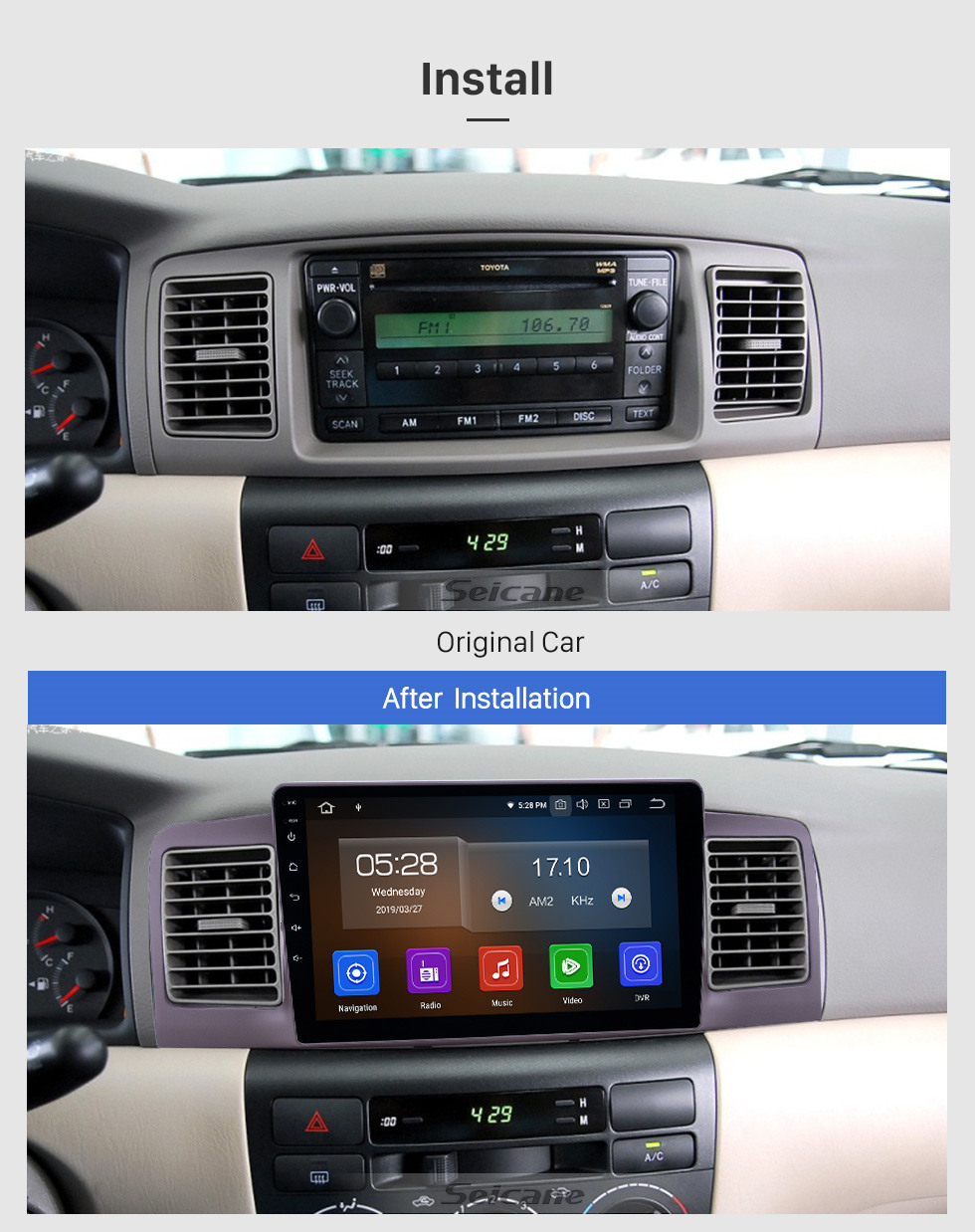 Seicane OEM 9 inch Android 10.0 Radio for 2006-2013 Toyota Corolla Bluetooth HD Touchscreen GPS Navigation Carplay support Rear camera