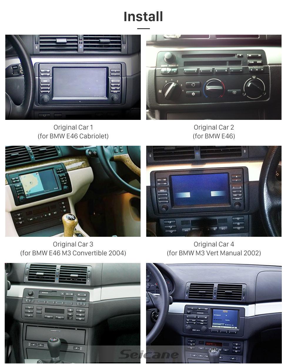 Seicane 8 Zoll Android 10.0 GPS Navigatie radio für 1998-2006 BMW 3er E46 M3 / 2001-2004 MG ZT / 1999-2004 Rover 75 mit HD Touchscreen Carplay Bluetooth Unterstützung SWC DVR