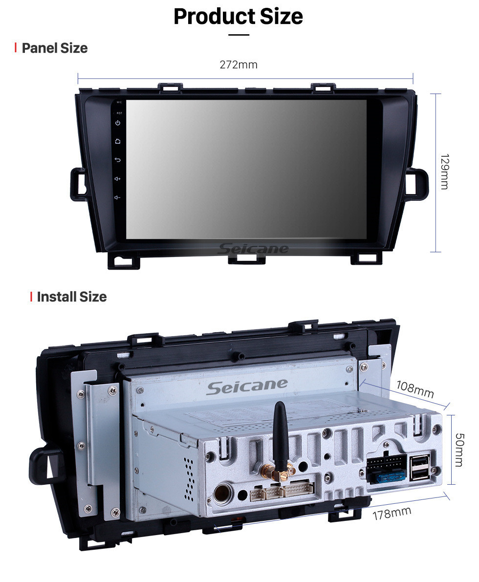 Seicane Android 10.0 9 inch GPS Navigation Radio for 2009-2013 Toyota Prius RHD with HD Touchscreen Carplay Bluetooth support Digital TV