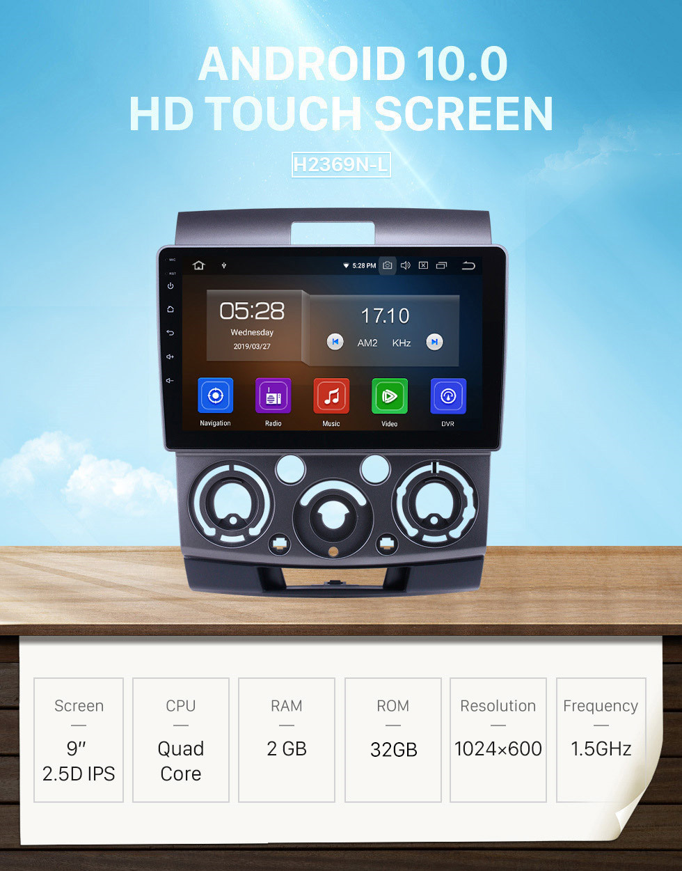 Seicane Android 10.0 9 inch GPS Navigation Radio for 2006-2010 Ford Everest/Ranger Mazda BT-50 with HD Touchscreen Carplay Bluetooth support Digital TV