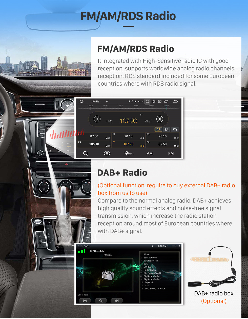 Seicane 10,1 pouces Android 10.0 Radio de navigation GPS pour 2009-2019 Ford New Transit Bluetooth HD écran tactile AUX Carplay support caméra de recul