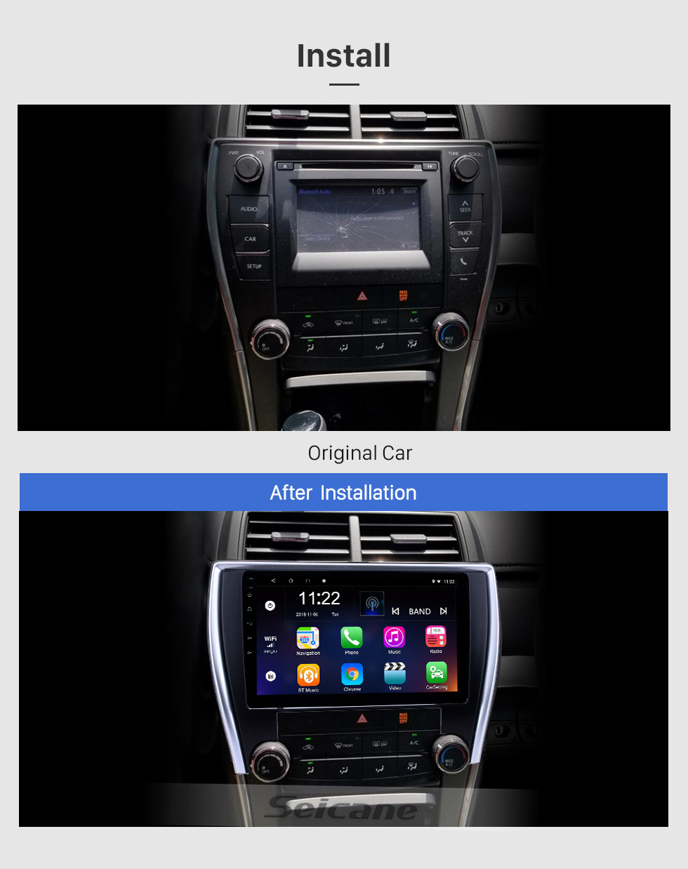 Seicane 10.1 inch Android 10.0 GPS Navigation Radio for 2015 Toyota Camry(America version) Bluetooth HD Touchscreen Carplay support Backup camera