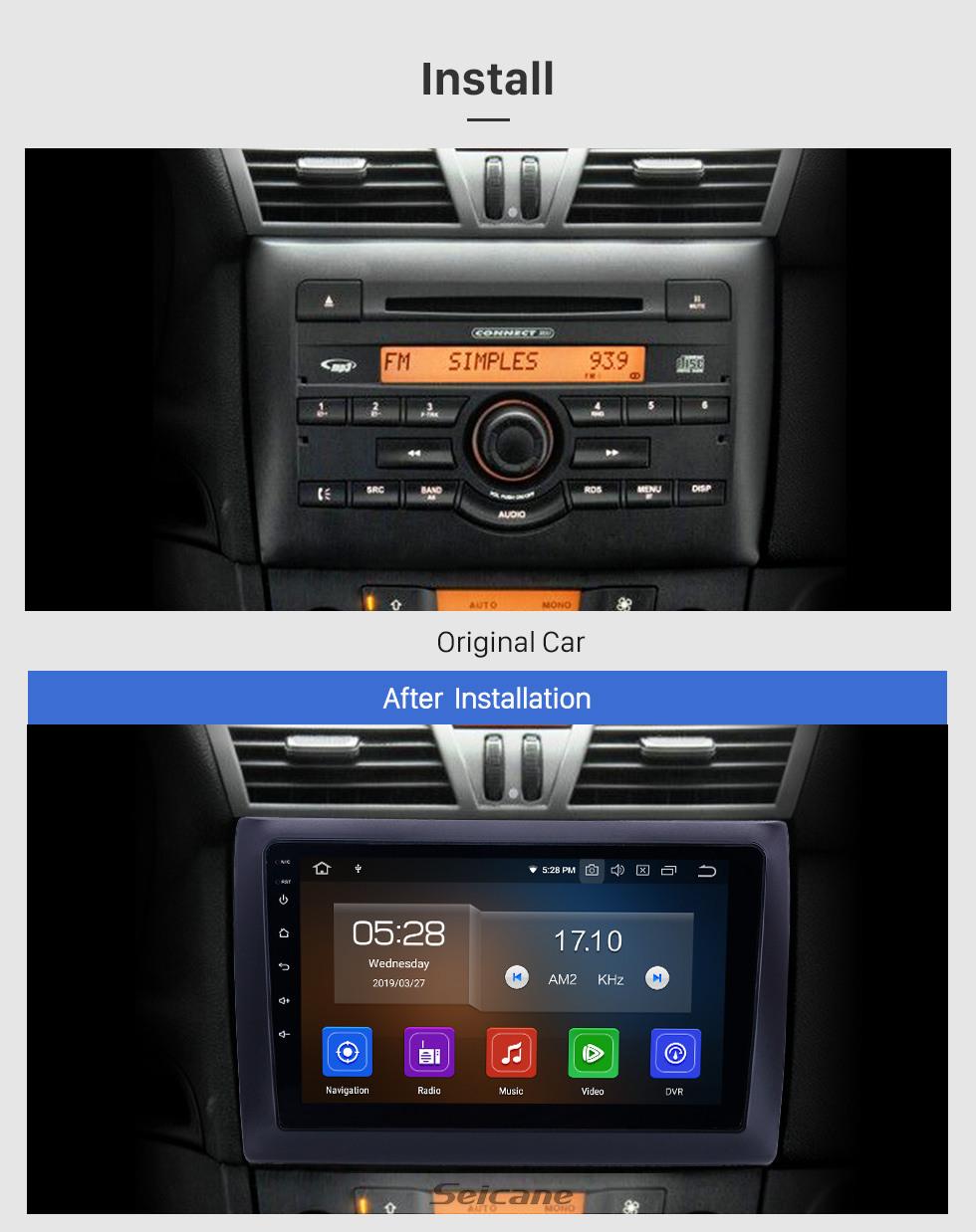 Seicane 9 inch Android 10.0 Radio for 2010 Fiat Stilo Bluetooth WIFI USB HD Touchscreen GPS Navigation Carplay support OBD2 TPMS DAB+ DVR