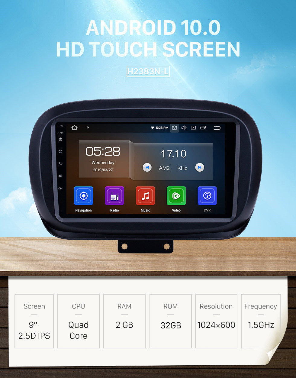 Seicane 9 inch 2014-2019 Fiat 500X Android 10.0 GPS Navigation Radio WIFI Bluetooth HD Touchscreen Carplay support TPMS DVR Mirror Link