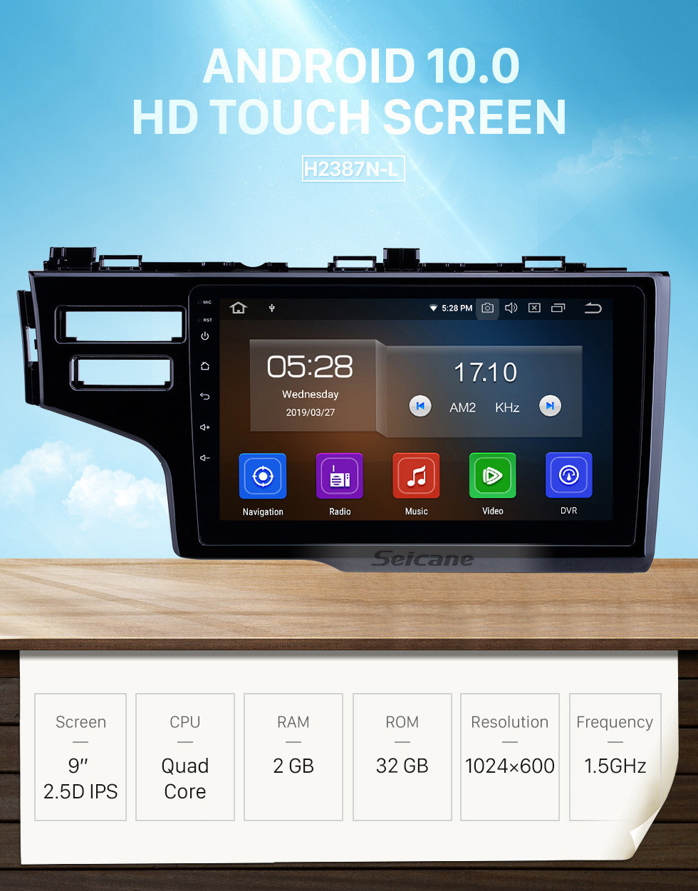 Seicane 2013-2015 Honda Fit LHD Android 10.0 9 inch GPS Navigation Radio Bluetooth HD Touchscreen USB Carplay support DVR DAB+ OBD2 SWC