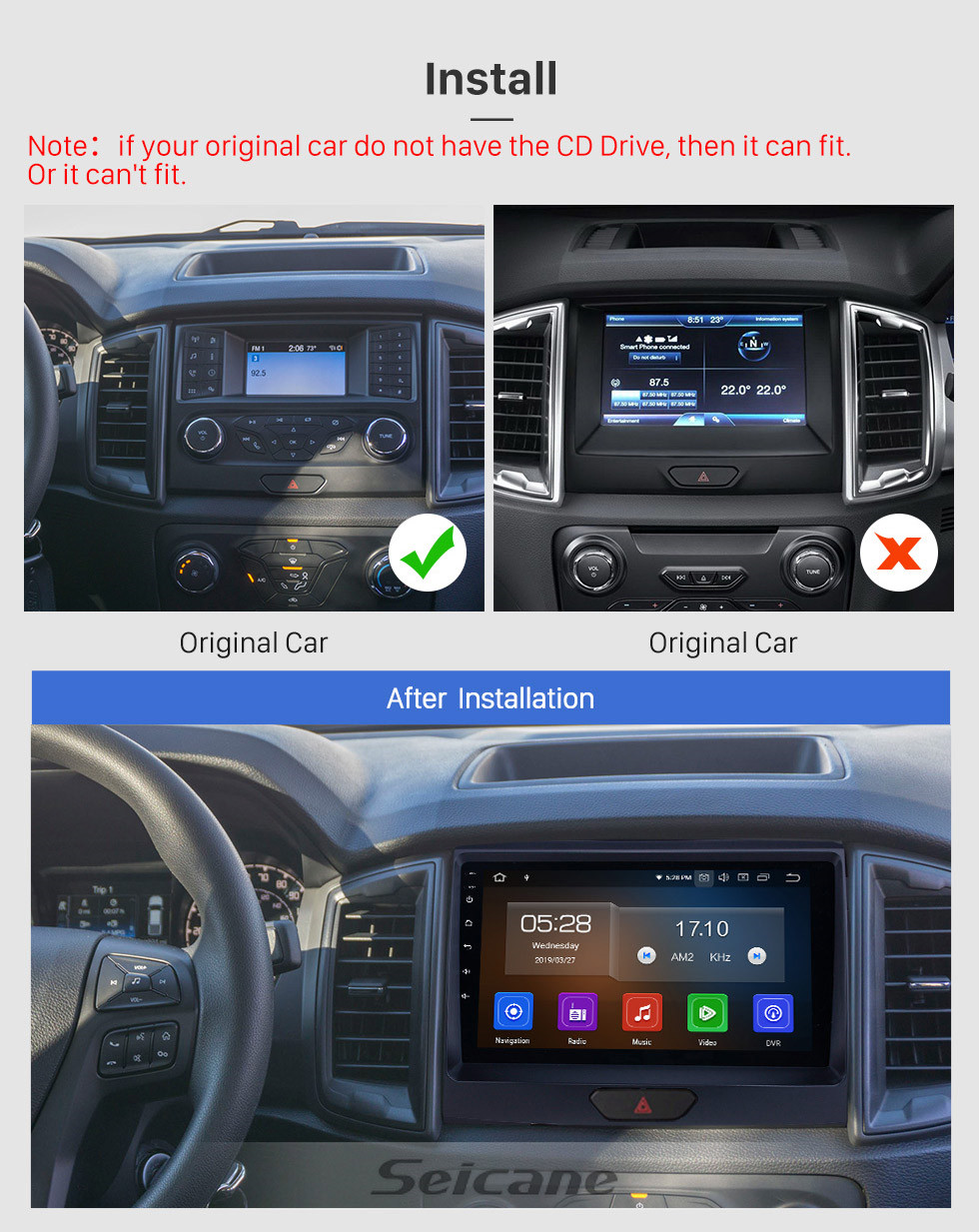 Seicane 2018 Ford Ranger Android 10.0 9 inch GPS Navigation Radio Bluetooth HD Touchscreen WIFI USB Carplay support DAB+ SWC
