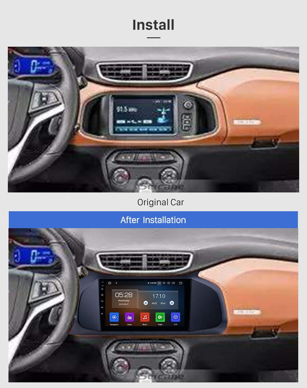 Seicane 9 inch Android 10.0 Radio for 2012-2019 Chevy Chevrolet Onix Bluetooth WIFI USB HD Touchscreen GPS Navigation Carplay support DAB+ DVR