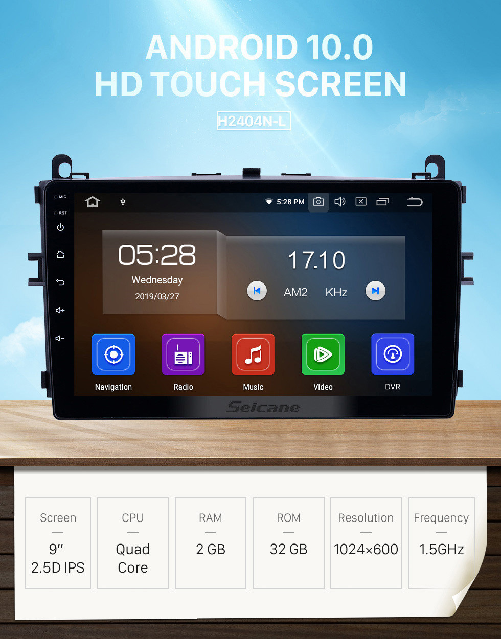 Seicane OEM 9 inch Android 10.0 GPS Navigation Radio for 2016-2017 Baic E Series E130 E150/EV Series EV160 EV200/Senova D20 Bluetooth HD Touchscreen Carplay support TPMS