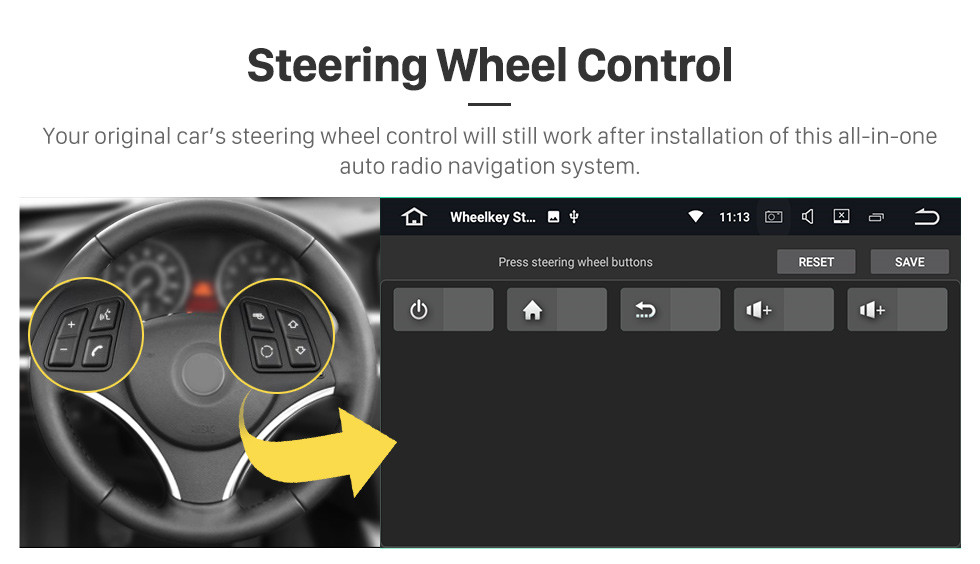 Seicane 2017-2019 Ford Teshun Android 10.0 Radio de navigation GPS 9 pouces Bluetooth Bluetooth HD écran tactile USB support Carplay DVR DAB + SWC