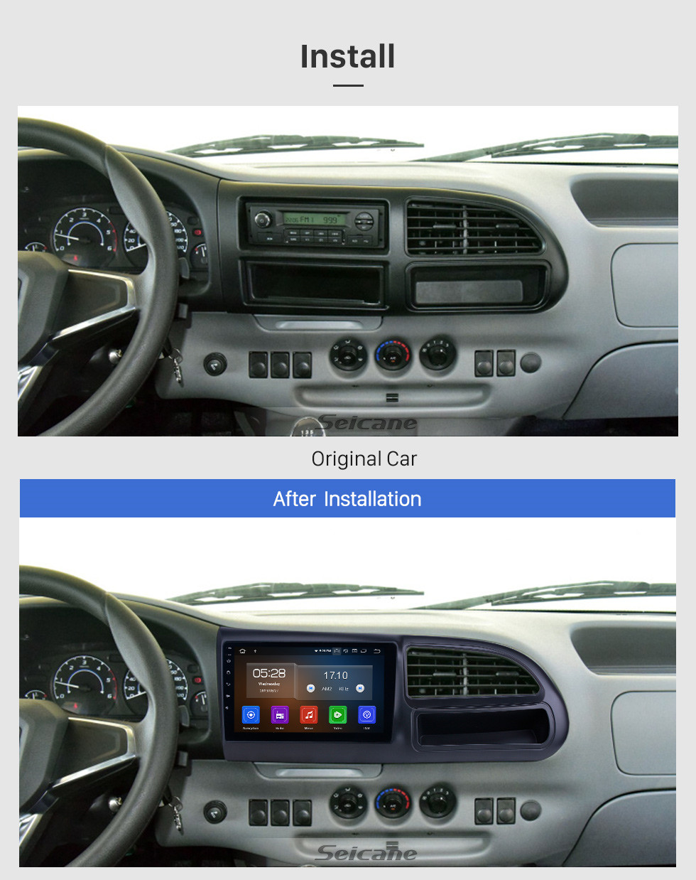 Seicane 2017-2019 Ford Teshun Android 10.0 9 inch GPS Navigation Radio Bluetooth HD Touchscreen USB Carplay support DVR DAB+ SWC
