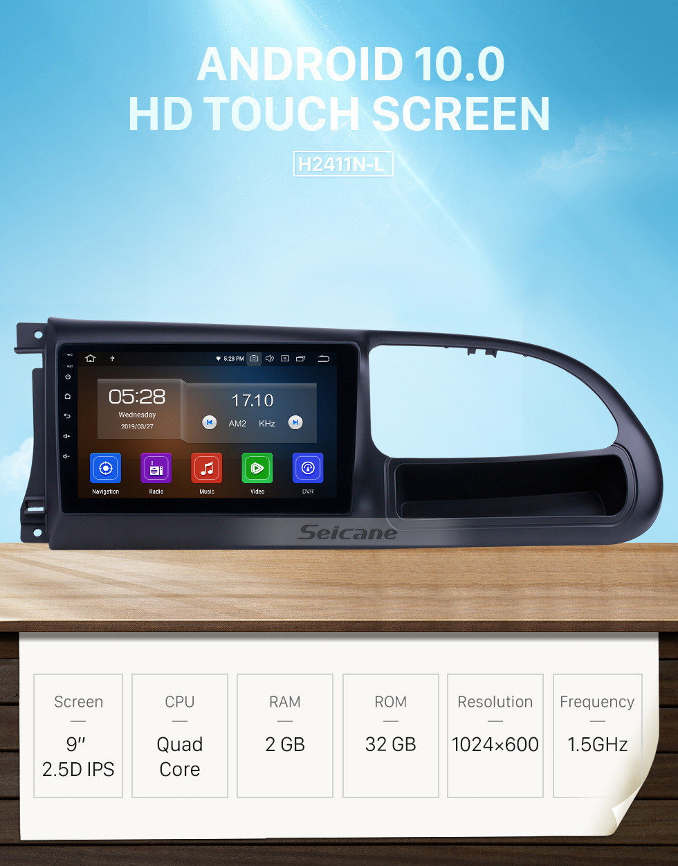 Seicane Android 10.0 9 inch GPS Navigation Radio for 2010-2016 Ford Transit with HD Touchscreen Carplay Bluetooth support Digital TV