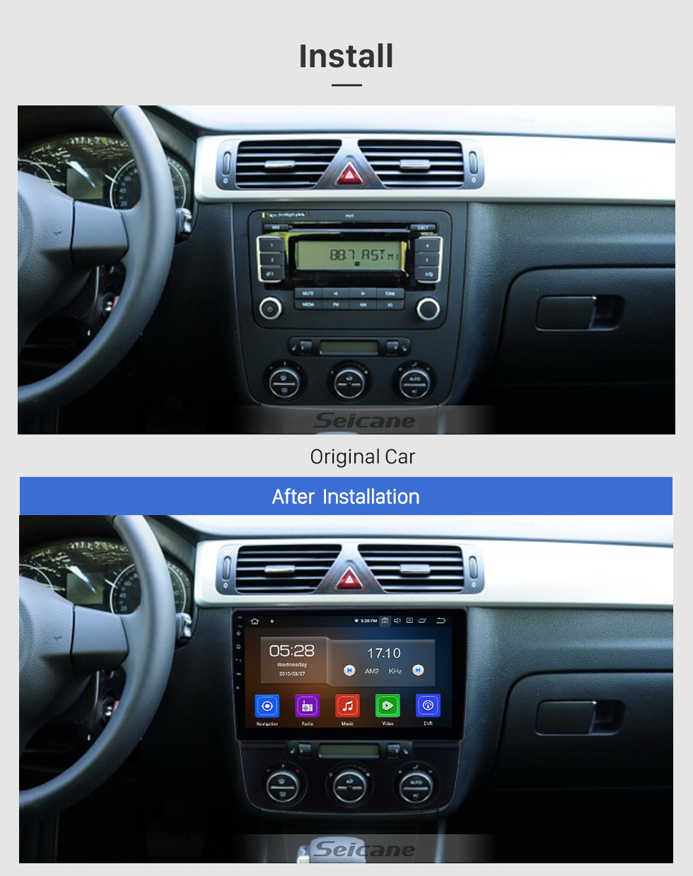 Seicane 10.1 inch 2006-2010 VW Volkswagen Bora Manual A/C Android 10.0 GPS Navigation Radio Bluetooth HD Touchscreen Carplay support Mirror Link