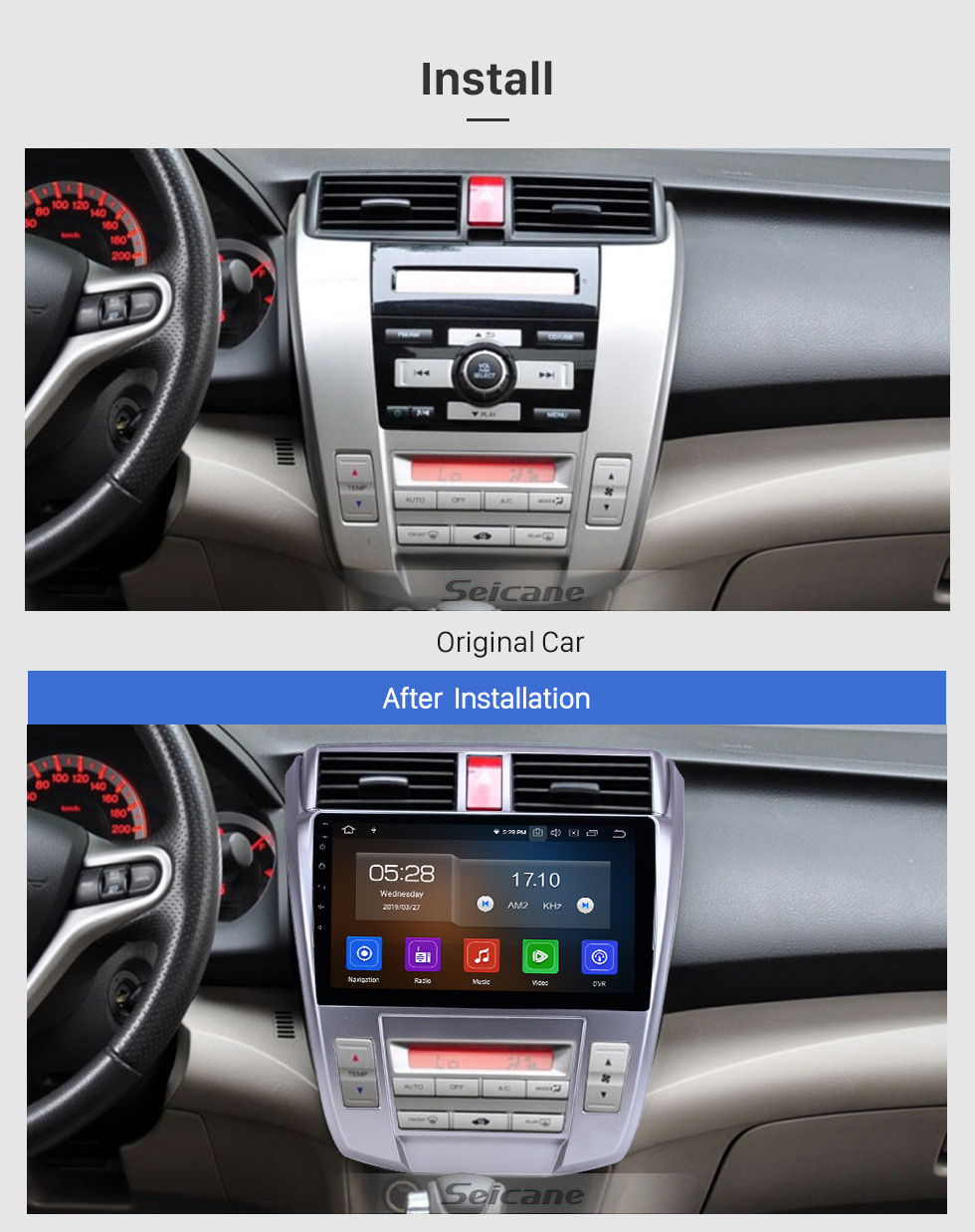 Seicane HD Touchscreen 2008-2013 Honda City Auto A/C Android 10.0 10.1 inch GPS Navigation Radio Bluetooth AUX Carplay support Rear camera